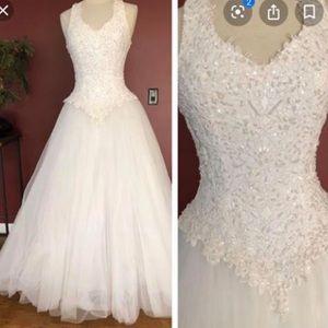 Oleg Cassini Beaded Halter Wedding Dress Style6280